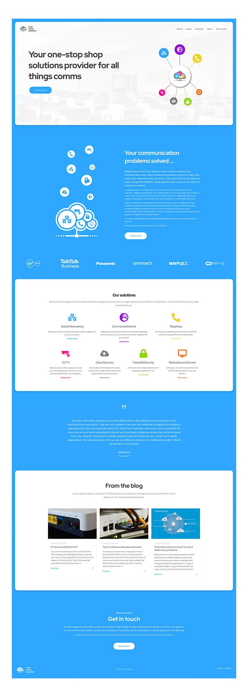Total Comm Solutions - Website Homepage Design